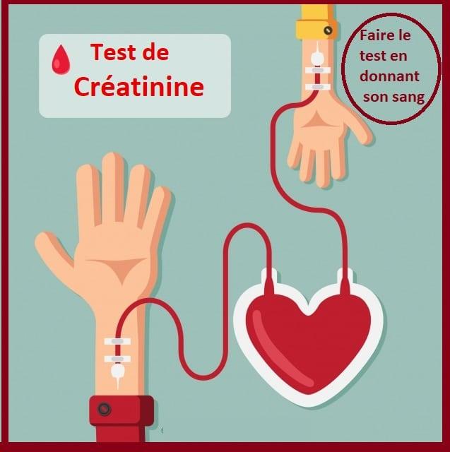 Test de créatinine  & donation de sang