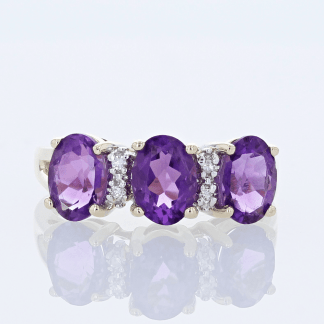 Triple Amethyst & Diamond Ring