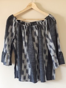grey and black boho style top