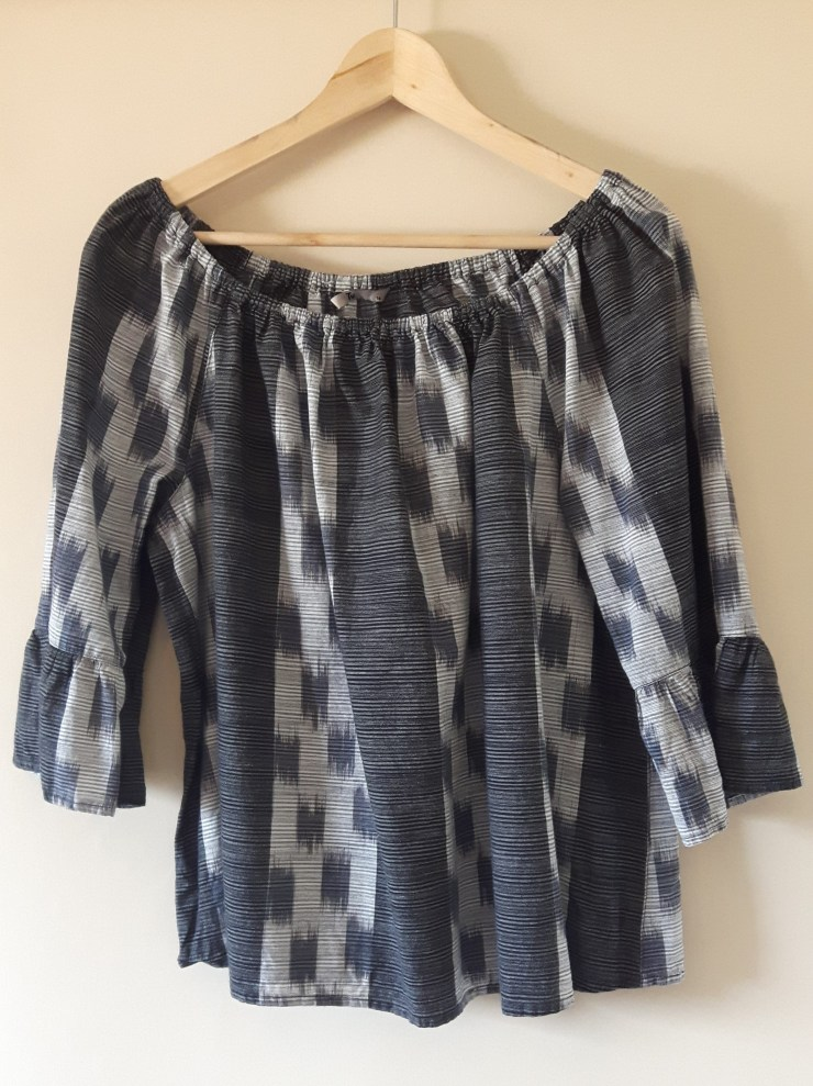 grey and black boho style top discarded after my wardrobe edit