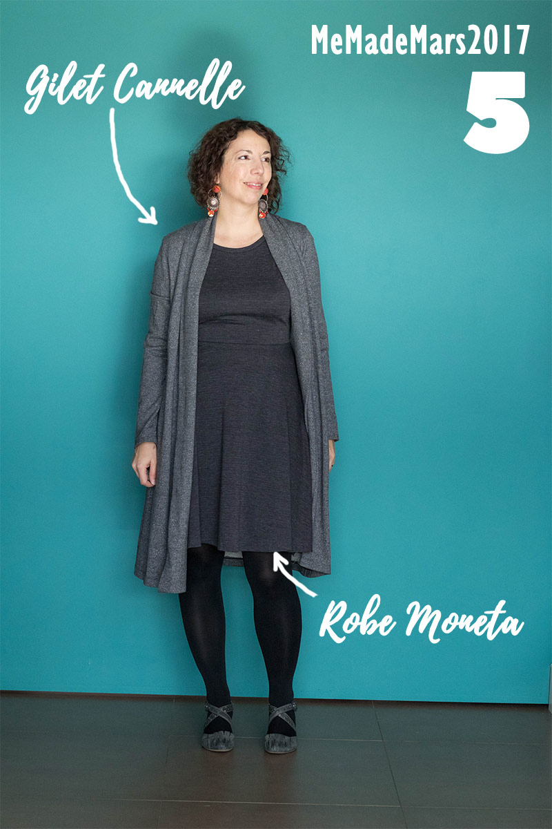 Me made Month Mars 2017, jour 5 : Robe Moneta de Colette Patterns et Gilet long Cannelle de Christelle Beneytout