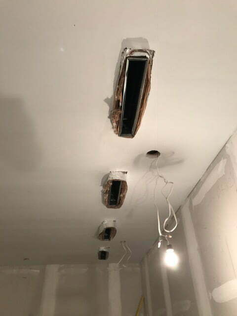 HVAC registers through floating ceiling