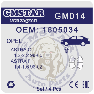 Колодки торм. диск. перед. для а/м OPEL A-G 1.2-2.2 98-05, A-F 1.4-1.6 98-02 GM014