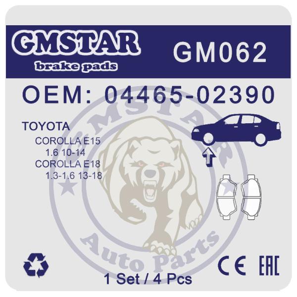 Колодки торм. диск. перед. для а/м Toyota Corolla E15 1.6 10-14, E18 1.3-1.6 13-18 GM062