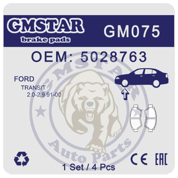 Колодки торм. диск. перед. для а/м Ford Transit 2.0-2.9 91-00 GM075