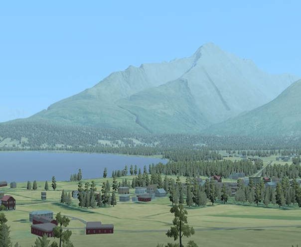 Database for an Image Generator. Computer-generated town below a forested mountain.