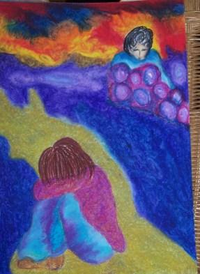 """Titel nieuw werk. """"Even the rain hurts like it should."""" Thema: Elke pijn krijgt zijn verwerkingsplek. Datum: 2- 3– 14. Tijd closure:15:19 uur. Oliepastelkrijt. 54 x 36 cm (c) Madeleine Oppelaar. Gelieve niet kopieren zonder toestemming. Dank! Met beeldende groet, Madeleine."""