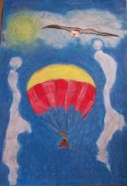 """Titel nieuw werk: """"Heads up sky high"""" Oliepastelkrijt, acryl en tekenpen. 54 x 36 cm (c) Madeleine Oppelaar'. 22 – 8 – 2014. Tijd close: 15:33 uur. Verboden te kopiëren zonder toestemming. Dank. Met beeldende groet, Madeleine."""
