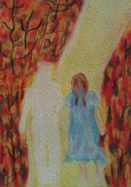 """Nieuwe werkje.... Titel: """"Net alsof"""". Thema: Het is net alsof je meeloopt in de geest. Oliepastelkrijt. 50 x 65 cm . Datum 23-8-2015. Tijdclose 11:18 uur. (c) Madeleine Oppelaar'. Verboden te kopiëren zonder toestemming. Dank. Met beeldende groet, Madeleine."""