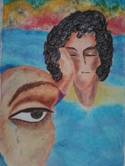 """Nieuw werk: """"Stille waters"""". Oliepastelkrijt, acryl en tekenpen.. 54 x 36 cm (c) Madeleine Oppelaar'. 15 – 9 – 2014. Tijd close: 13:44 uur. Verboden te kopiëren zonder toestemming. Dank. Met beeldende groet, Madeleine."""
