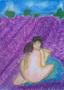 Titel werkje: 'Lavande' Datum: 23 -8 – 13 (Nog niet helemaal klaar) Oliepastelkrijt 54 x 36 cm (c) Madeleine Oppelaar. Gelieve niet kopieren zonder toestemming. Dank! Een hartelijk zonnegroetje, Madeleine.
