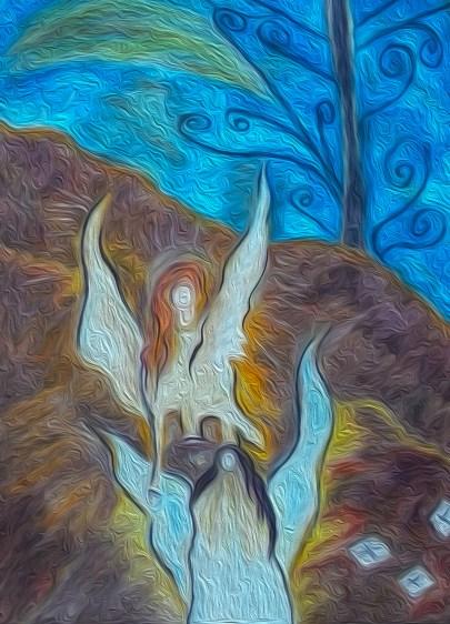 """Na twee intense maar mooie weken van liefde en liefde voelen, closures, waarheden, vrede maken, wederzien, maar ook een heengaan van een dierbare oom, heb ik dit werk kunnen maken. Titel: """"Volg en ontmoet de Wachter"""". 48 X 36 CM. Oliepastelkrijt. Datum: 01-8-2015. Tijd close: 12:48 uur. Gemaakt door © Madeleine Oppelaar.Verboden te kopiëren zonder toestemming. Hiervoor dank! Met vriendelijke hart en groet, Madeleine."""