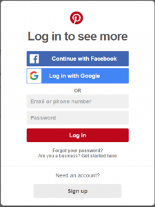 Use Facebook or Google account for Pinterest login