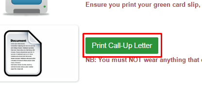 print call up letter