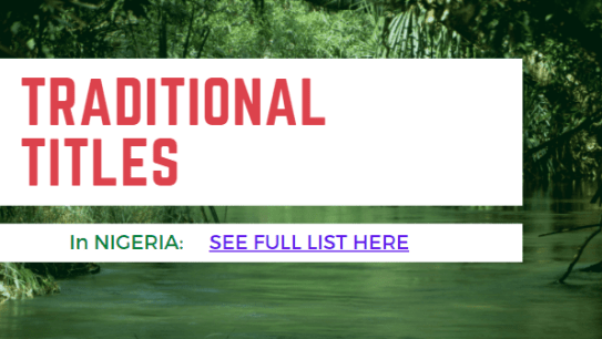 Traditional Titles in Nigeria