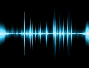 Graphic of a digital sound on black bottom