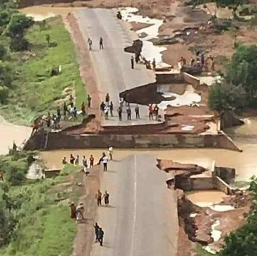 A drone view picture of the current state of the Nadowli road.