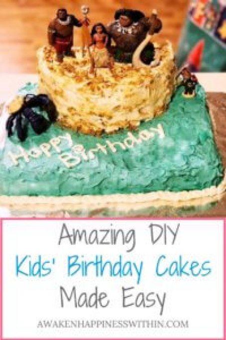 Easy DIY Cakes, Easy Birthday Cakes, DIY Birthday Cakes, Disney Cakes, Disney, Moana Cake, Moana