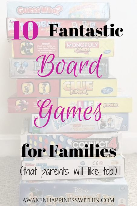 Stack of family board games