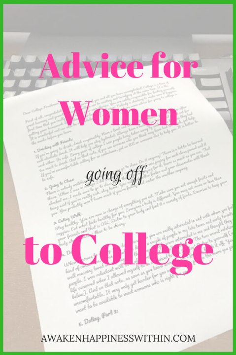 Advice for young women going off to college.