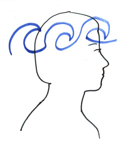 "Image: ""Ra-En Seeking Brain Wave Optimization in the Author,"" by Alice B. Clagett, 13 March 2019, CC BY-SA 4.0, from ""Awakening with Planet Earth,"" https://awakeningwithplanetearth.com ... DESCRIPTION: Outline of a woman's head facing to the viewer's right. Sketched in blue is an outline of Kelvin-Helmholtz waves rolling through the brain from back to front, above the level of the eyes. At the back of the head, the affected parts of the brain are the occipital lobe (which is involved in vision) and adjacent portions of the parietal lobe (which processes sensory information and is involved in reasoning and language, among others) and of the temporal lobe (which processes hearing and is involved in speech, memory, emotions, and behavior, among others). At the front of the head, the affected part of the brain is the frontal lobe (which is involved in intelligence, memory, personality, reasoning, and behavior, among others)."