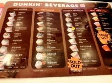 DD drink menu. The sweet potato latte is addicting.
