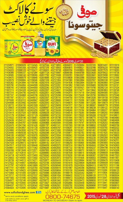 First Draw of Sufi Banaspati & Cooking Oil Sofi sona scheme 2015