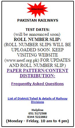 PAKISTAN Railway (PR) NEEF Test Dates
