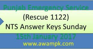Punjab Emergency Service (Rescue 1122) answer keys