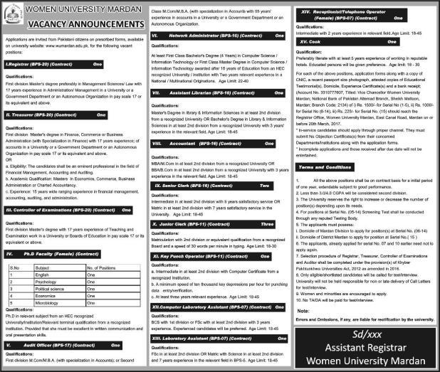 Jobs in women university mardan