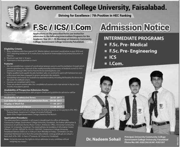 GCU Faisalabad admission 2017