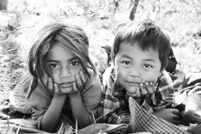 Some Nepali children playing while their parents worked, India 2013.