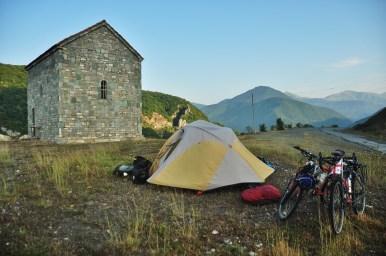 Camping next to a church.