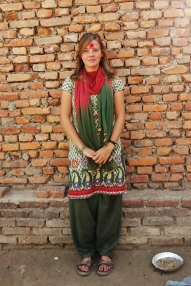 Wearing one of the suits an Indian family had gifted me months before on my 21st birthday, Nepal 2014.