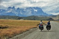 Cycling into Torres del Paines, Patagonia.