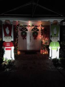 Toy soldier decorations at night.