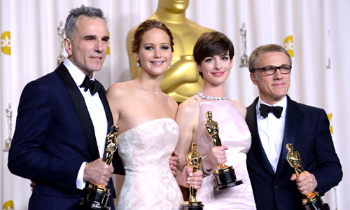 From left to right; Daniel Day-Lewis, Jennifer Lawrence, Anne Hathaway, Christoph Waltz