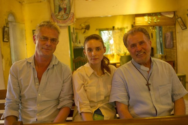 From left; Trash director Stephen Daldry and stars Rooney Mara and Martin Sheen
