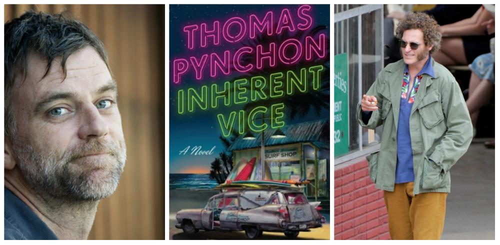 From left; Paul Thomas Anderson, Thomas Pynchon's novel, Joaquin Phoenix