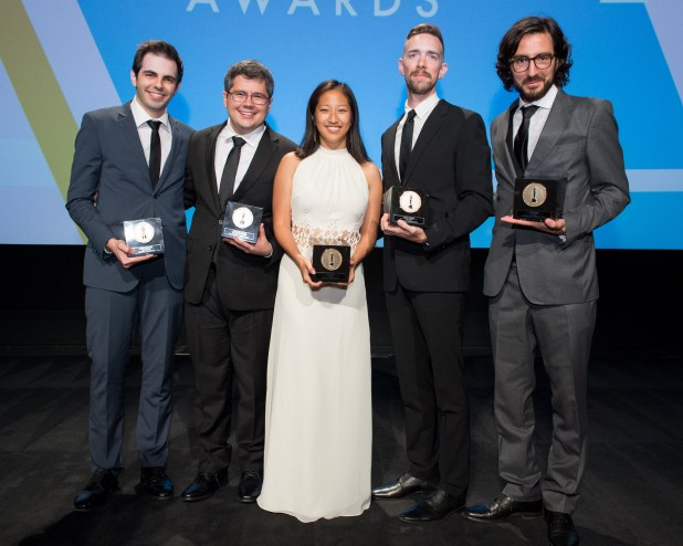 The Academy of Motion Picture Arts and Sciences presented its 42nd Annual Student Academy Awards® on Thursday, September 17, in Beverly Hills. Gold Medal winners (left to right): Alternative film winner Daniel Drummond, Documentary film winner Alexandre Peralta, Animated film winner Alyce Tzue, Narrative film winner Henry Hughes and Foreign film winner Ilker Catak. Photo credit: Todd Wawrychuk / ©A.M.P.A.S.