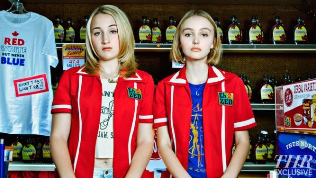 Harley Quinn Smith (left) and Lily-Rose Depp (right) in 'Yoga Hosers'