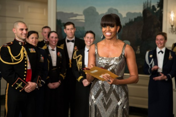 First Lady Michelle Obama announces the Best Picture Oscar to Argo live from the Diplomatic Room of the White House, Feb. 24, 2013. (Official White House Photo by Pete Souza)