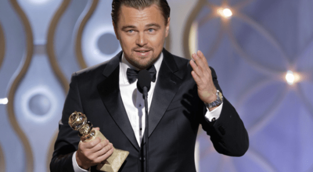 Leonardo DiCaprio, accepting his Golden Globe for The Revenant, earlier this year