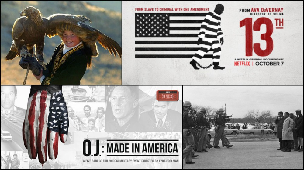 15 Films are in Contention for the Documentary Feature Oscar including The Eagle Huntress, 13TH, O.J.: Made in America and I Am Not Your Negro