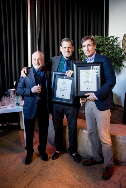 From left: Call Me By Your Name author André Aciman and film's produces Howard Rosenman, Peter Spears at GALECA Dorian Awards Winners Toast, 2/24/18, Beverly Hills