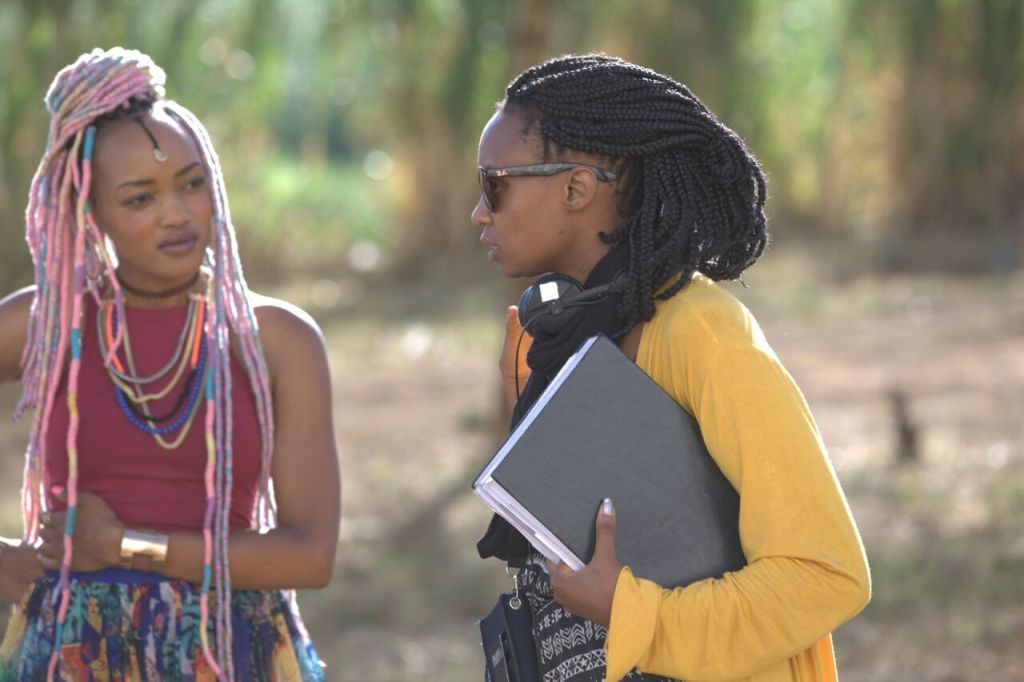 Wanuri Kahiu (right) on the set of her newest film Rafiki with actress Sheila Munyiva