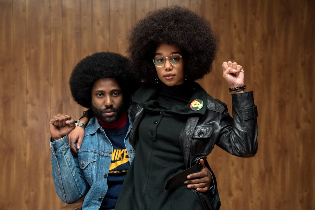John David Washington stars as Ron Stallworth and Laura Harrier as Patrice in Spike Lee's BlacKkKlansman, a Focus Features release.Credit: David Lee / Focus Features