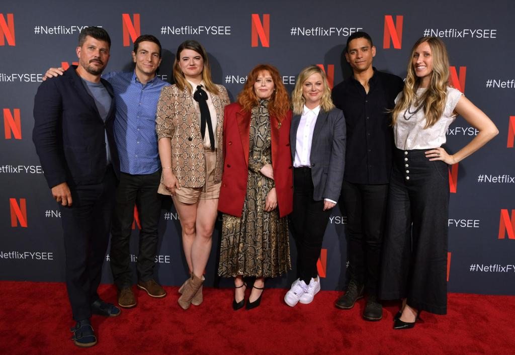 "LOS ANGELES, CALIFORNIA - JUNE 09: Todd Downing, Chris Teague, Leslye Headland , Natasha Lyonne, Amy Poehler, Charlie Barnett  and Brienne Rose attend the Netflix ""Russian Doll"" FYSEE Event at Raleigh Studios on June 09, 2019 in Los Angeles, California. (Photo by Emma McIntyre/Getty Images for Netflix)"