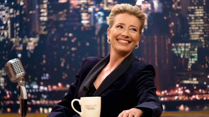 Emma Thompson appears in Late Night by Nisha Ganatra, an official selection of the Premieres program at the 2019 Sundance Film Festival. Courtesy of Sundance Institute | photo by Emily Aragones.   All photos are copyrighted and may be used by press only for the purpose of news or editorial coverage of Sundance Institute programs. Photos must be accompanied by a credit to the photographer and/or 'Courtesy of Sundance Institute.' Unauthorized use, alteration, reproduction or sale of logos and/or photos is strictly prohibited.