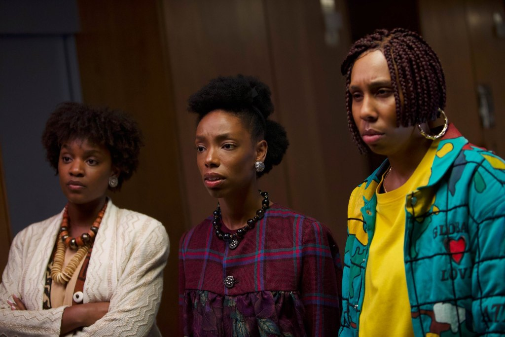 Yaani King Mondschein, Elle Lorraine, and Lena Waithe appears in Bad Hair by Justin Simien, an official selection of the Midnight program at the 2020 Sundance Film Festival. Courtesy of Sundance Institute.\r\rAll photos are copyrighted and may be used by press only for the purpose of news or editorial coverage of Sundance Institute programs. Photos must be accompanied by a credit to the photographer and/or 'Courtesy of Sundance Institute.' Unauthorized use, alteration, reproduction or sale of logos and/or photos is strictly prohibited.